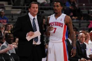 Team auf unbestimmte Zeit: Detroits Interims-Coach John Loyer und Point Guard Brandon Jennings.