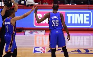 Einzug in die Conference Finals: Kevin Durant und Russell Westbrook treffen nun auf San Antonio.