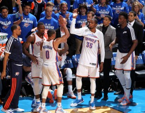 Überragend: Westbrook und Durant verzeichneten zusammen 71 Punkte, 15 Assists, zehn Rebounds, acht Steals und zwei Blocks!