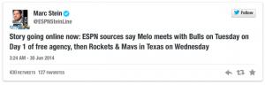 Carmelo Anthony wird zunächst drei Teams besuchen: Chicago, Houston und Dallas.