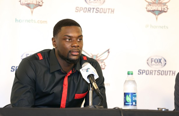 Charlotte Hornets announce the signing of Lance Stephenson to the media.