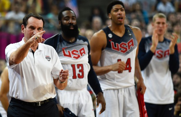 BARCELONA, SPAIN - SEPTEMBER 11:  Head coach Mike Krzyzewski of the USA Basketball Men's National Team reacts during a 2014 FIBA Basketball World Cup semi-final match between USA and Lithuania at Palau Sant Jordi on September 9, 2014 in Barcelona, Spain.  (Photo by David Ramos/Getty Images)