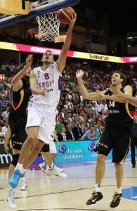 Nemanja Bjelica, der 2015/16 für die Minnesota Timberwolves spielt, war gegen Deutschland Serbiens Matchwinner. Foto: Getty Images