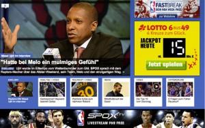 Weiterhin NBA-Partner: Die Sportwebseite www.spox.com Foto: Screenshot
