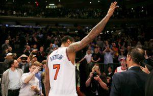 Carmelo Anthony verabschiedet sich von den Fans der New York Knicks im Madison Square Garden.