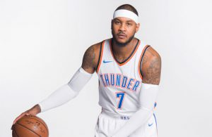NBA-Star Carmelo Anthony im Trikot seines neuen Teams Oklahoma City Thunder.
