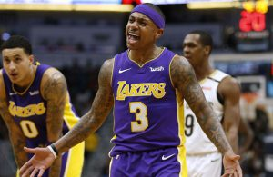 Isaiah Thomas von den Los Angeles Lakers während eines NBA-Spiels.