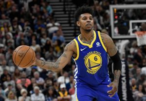 SALT LAKE CITY, UT - APRIL 10: Nick Young #6 of the Golden State Warriors passes the ball in the second half of a game against the Utah Jazz at Vivint Smart Home Arena on April 10, 2018 in Salt Lake City, Utah. The Jazz beat the Warriors 119-79. NOTE TO USER: User expressly acknowledges and agrees that, by downloading and or using this photograph, User is consenting to the terms and conditions of the Getty Images License Agreement. (Photo by Gene Sweeney Jr./Getty Images)